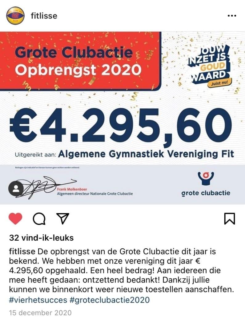 Opbrengst Algemene Gymnastiek Vereniging Fit Lisse