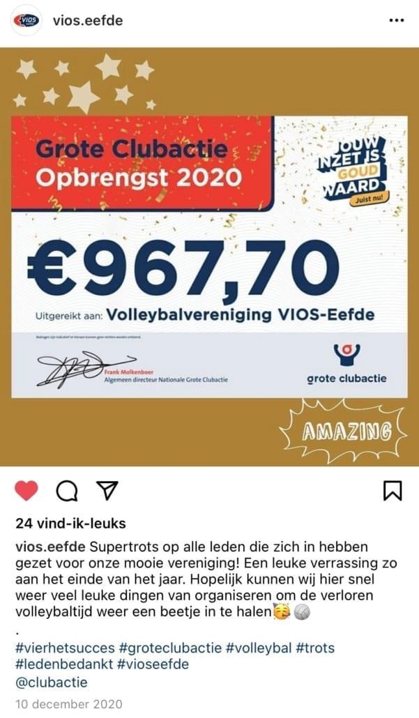 Opbrengst volleybalvereniging VIOS